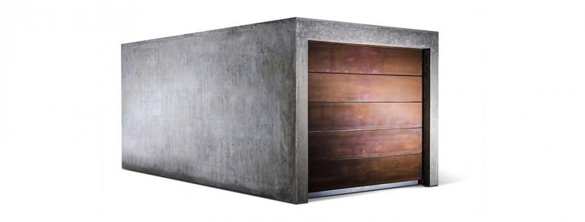 Design-Fertiggarage aus Beton mit Holztor